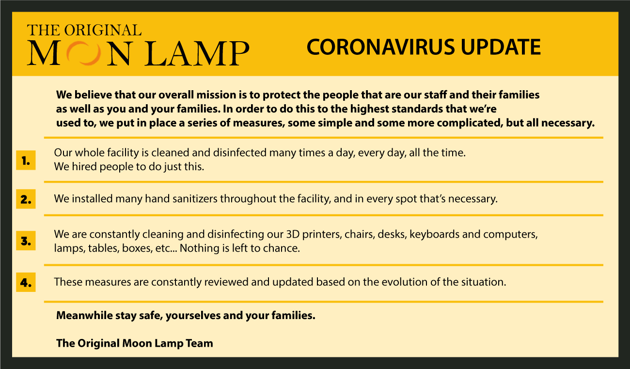 How We Here At The Original Moon Lamp Are Staying Safe During The Coronavirus Pandemic!