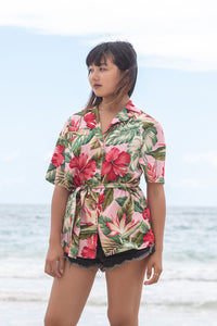 Coradorables WOMENS ROYAL HAWAIIAN S/S Cinched Waist Top