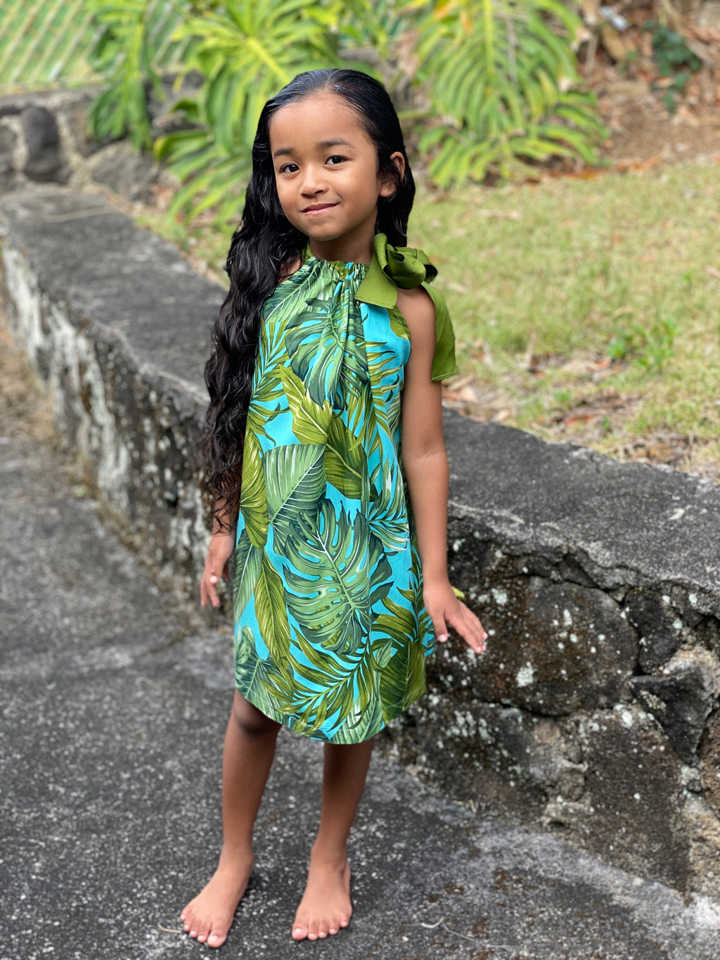 Coradorables GIRLS Monstera 21 Turquoise Signature Ribbon Dress