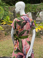 Coradorables WOMENS Birds Of Paradise Mauve Aloha Shirt Dress
