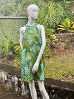 Coradorables Womens Monstera 21 Turquoise Halter Neck Sheath Dress