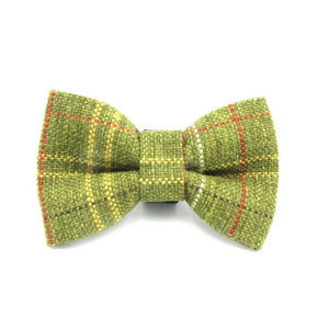Tweed Tartan Dog Bow Tie Green