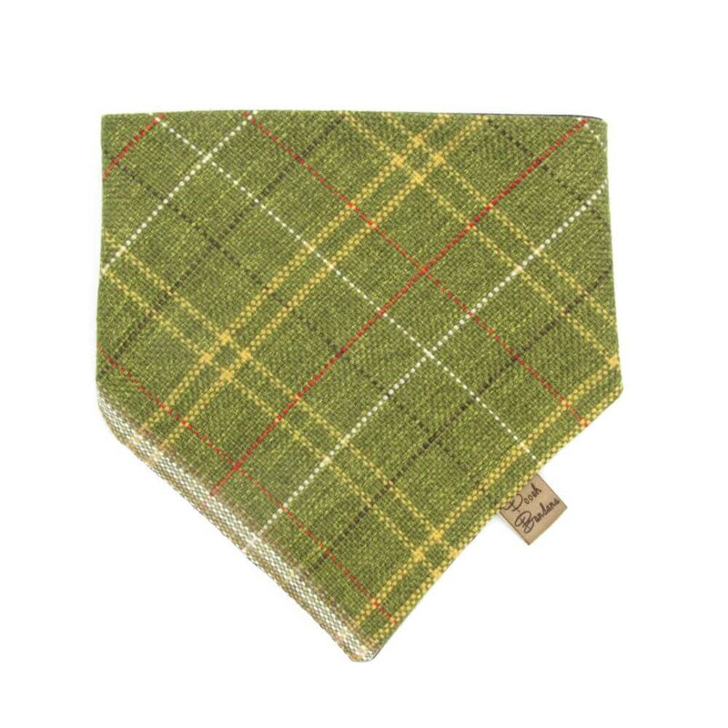 Tweed Tartan Dog Bandana Green