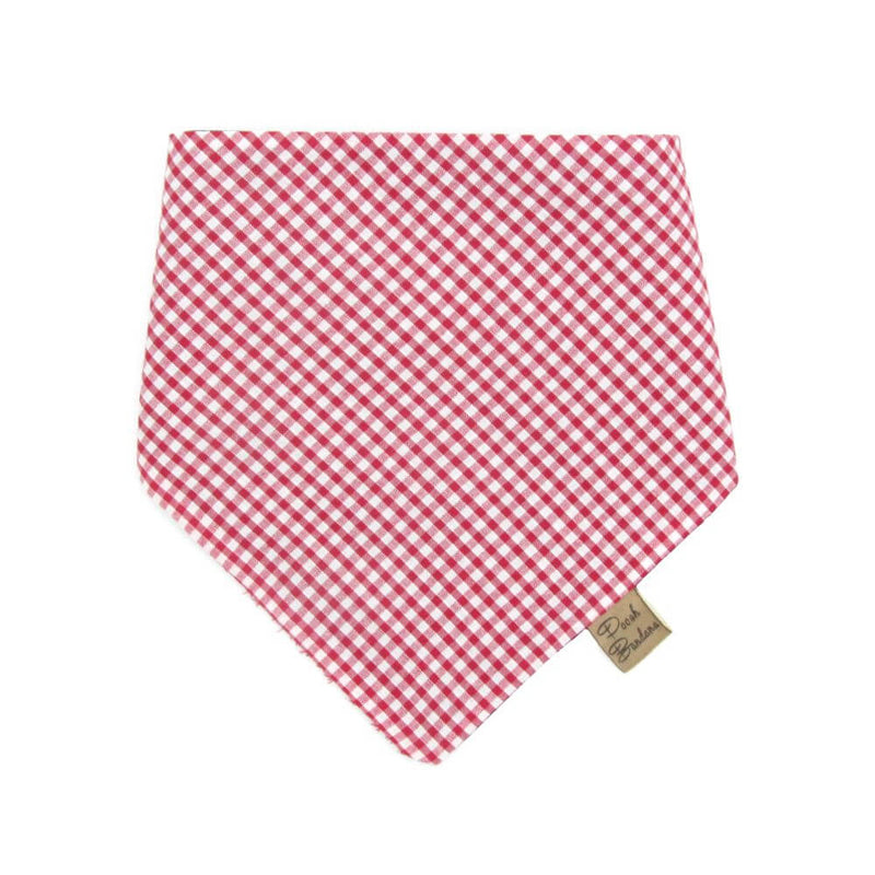 Frenchie wearing Country Gingham Dog Bandana Red/White