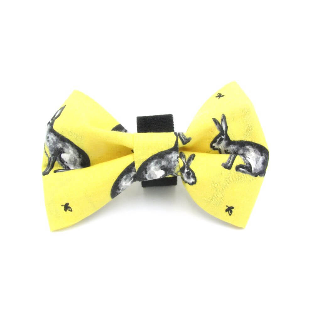 Classic Bunnies Easter Dog Bow Tie Yellow