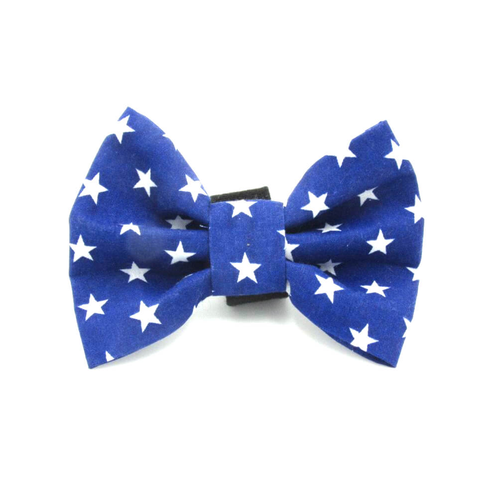 Stars Dog Bow Tie Blue