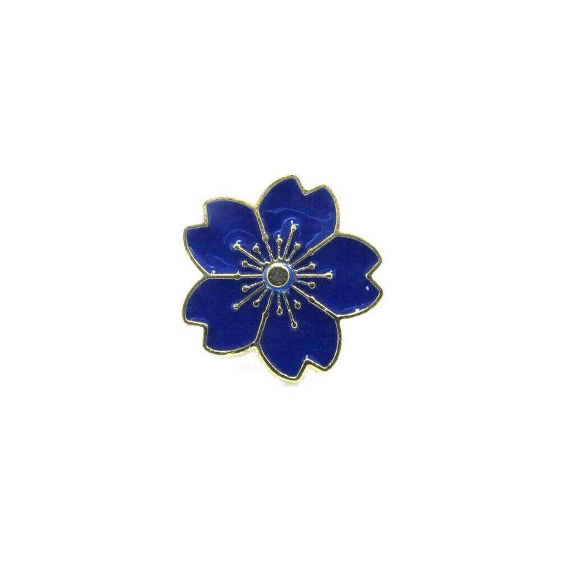 Japanese Flower Pin Badge Blue