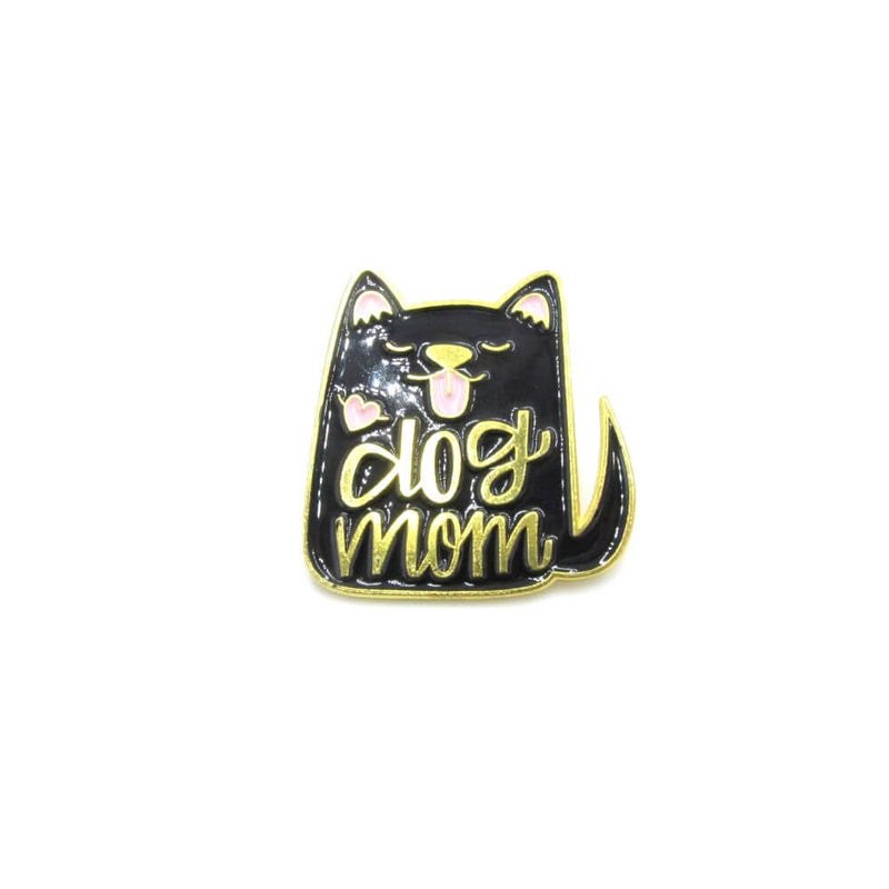 Dog Mom Pin Badge Black