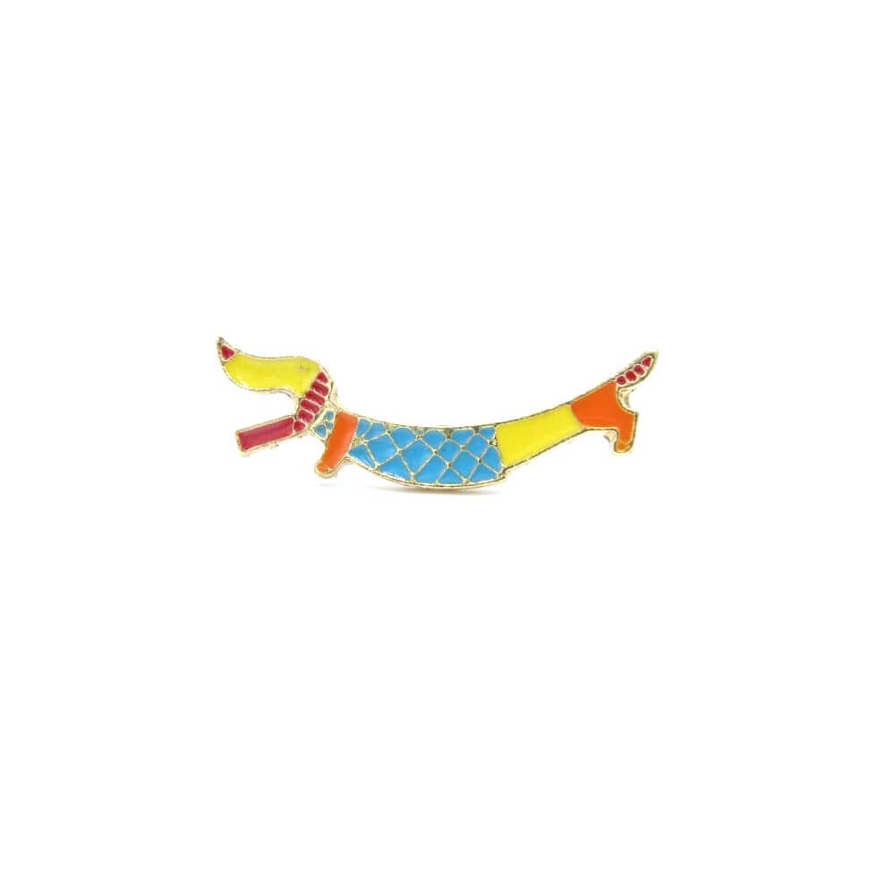 Dachshund Pin Badge Rainbow