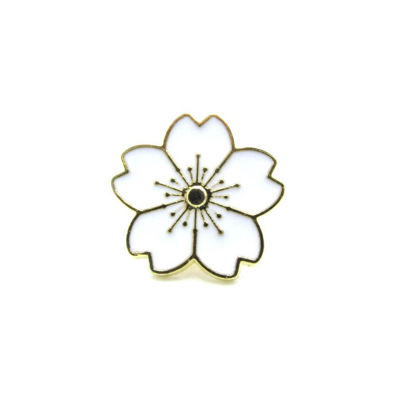 Japanese Flower Pin Badge White