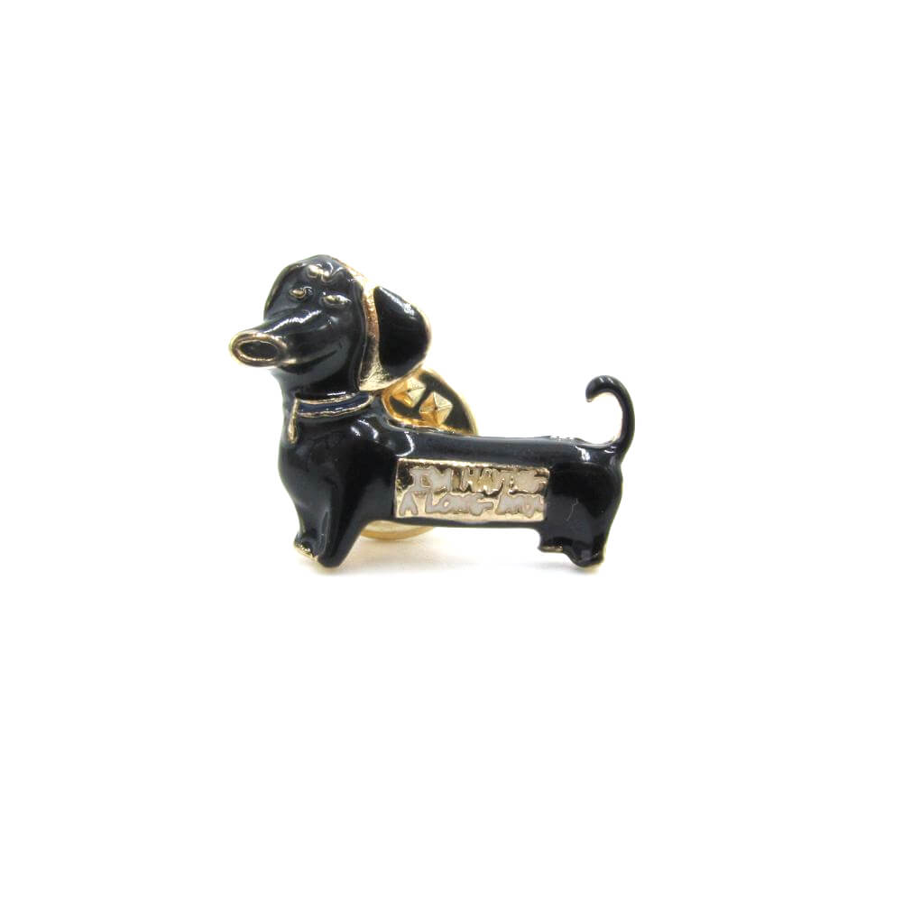 Dachshund Pin Badge Black