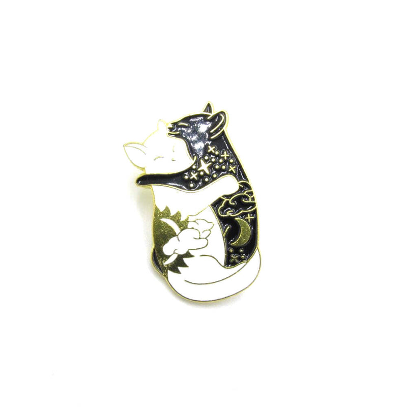 Embracing Cats Pin Badge