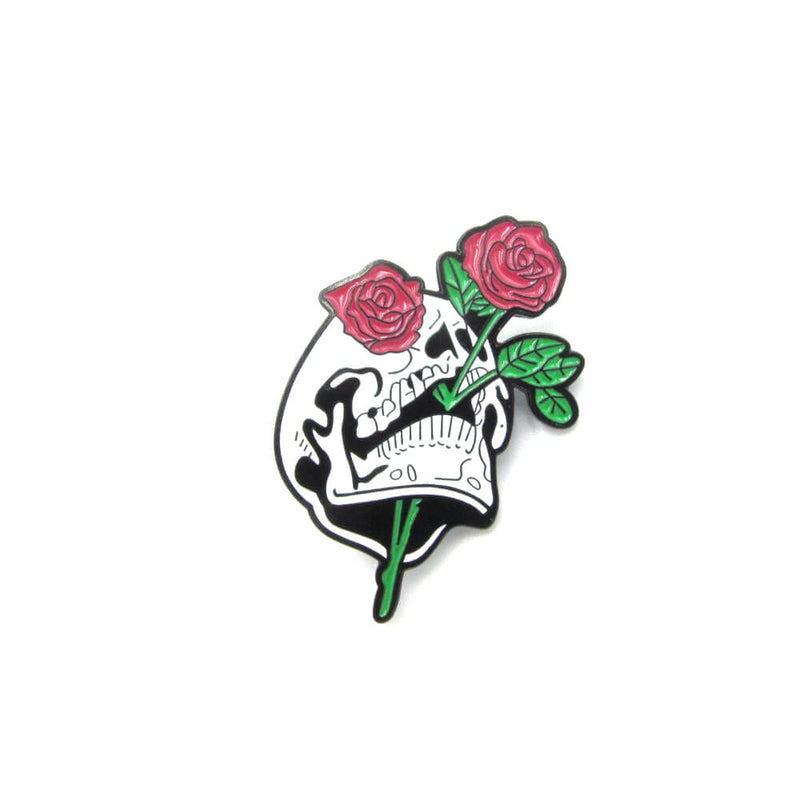 Skull And Roses Pin Badge