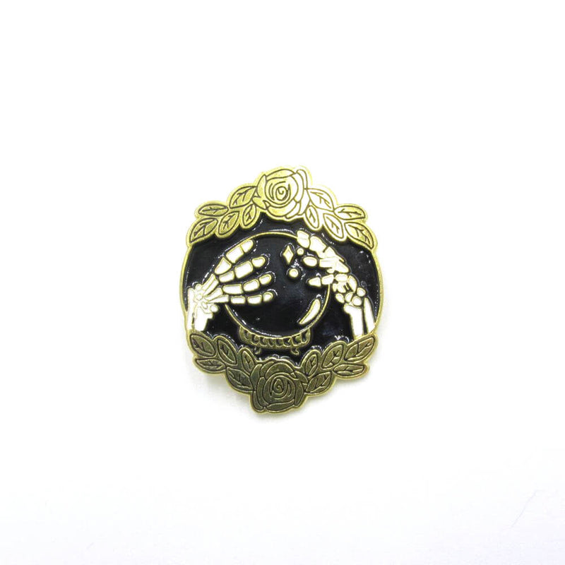 Crystal Ball & Skeleton Pin Badge
