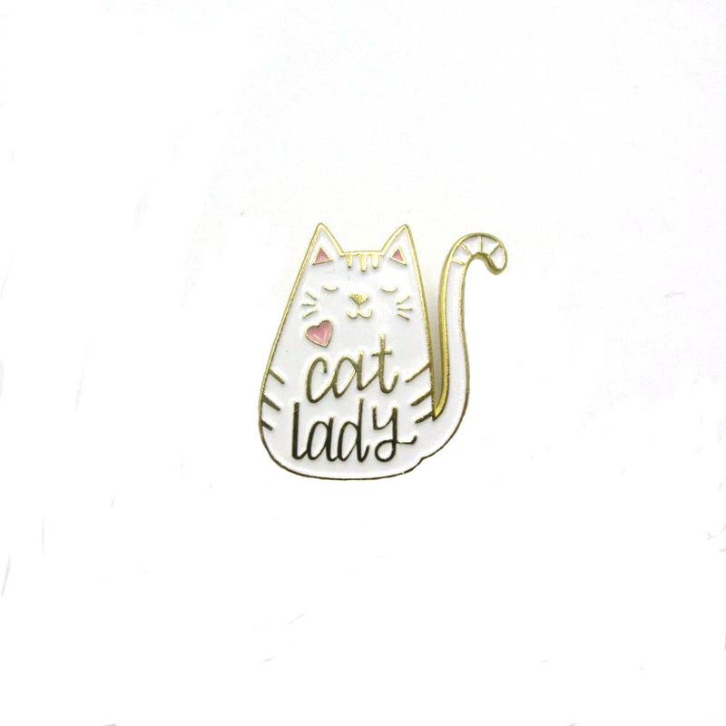 Cat Lady Pin Badge White