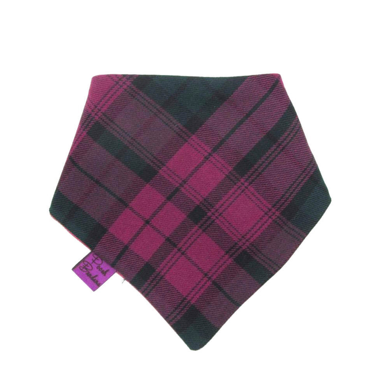 Tartan Dog Bandana Wine Red