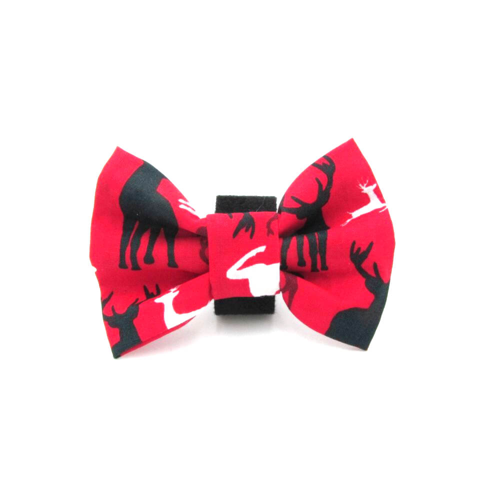 Reindeer Christmas Dog Bow Tie Red - LIMITED EDITION