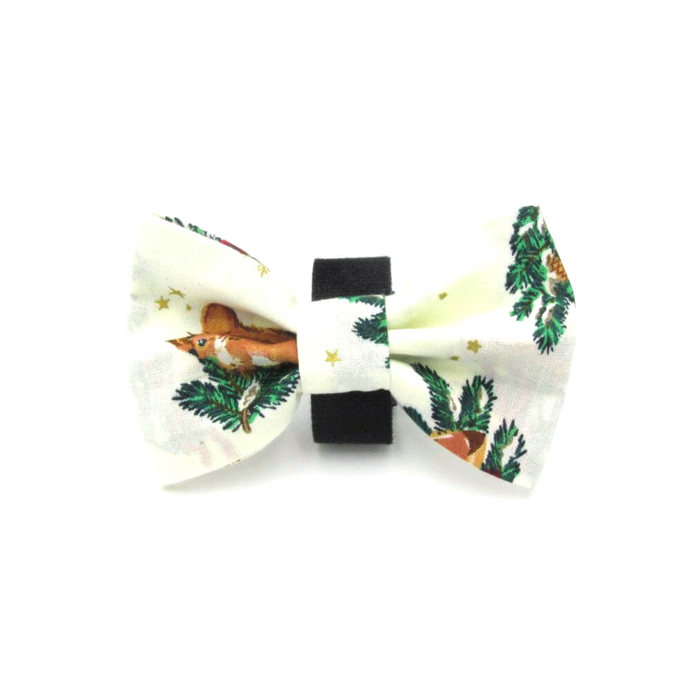 Festive Christmas Dog Bow Tie White - LIMITED EDITION
