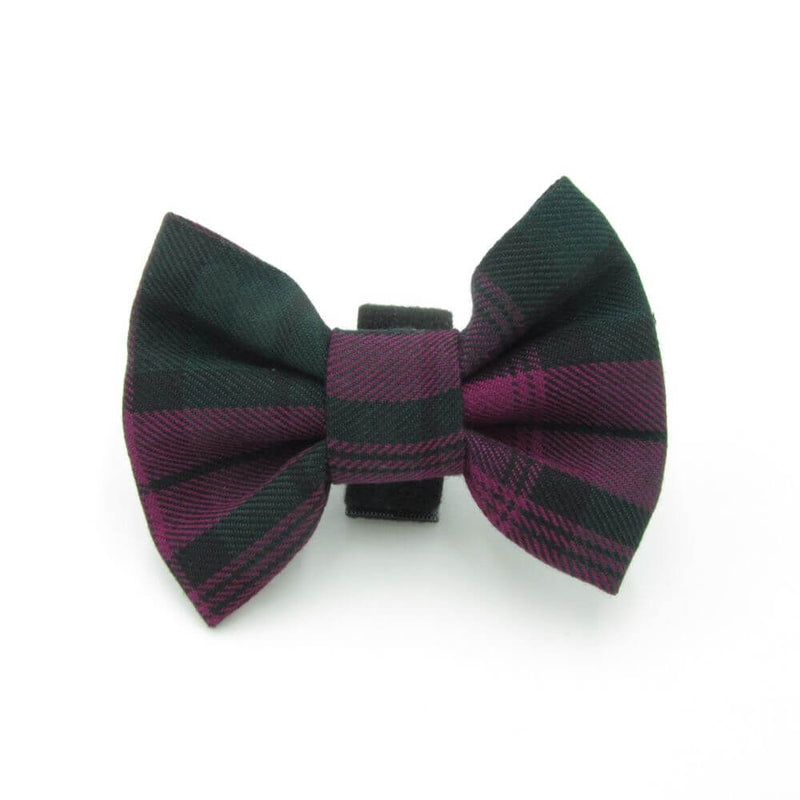 Tartan Dog Bow Tie Wine Red