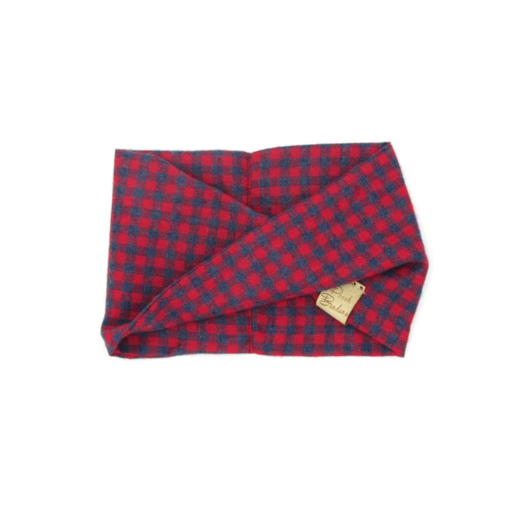 Chequered Dog Snood Red + Blue
