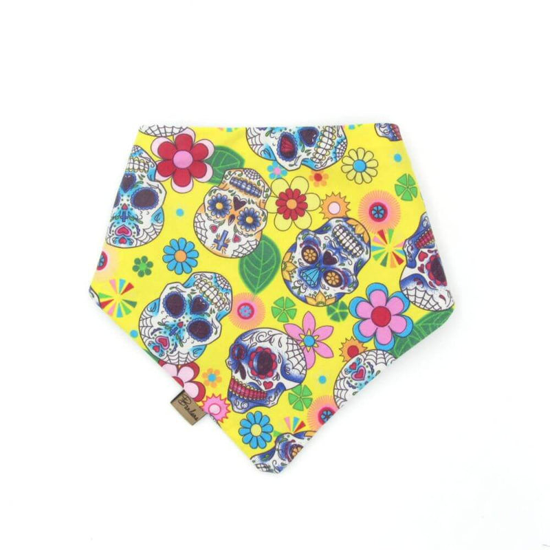 Mexican Skulls Halloween Dog Bandana Yellow