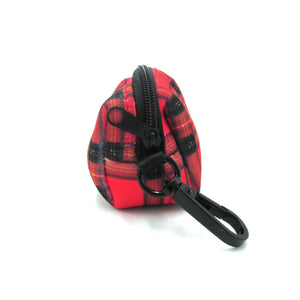 Tartan Dog Poop Bag Holder Red