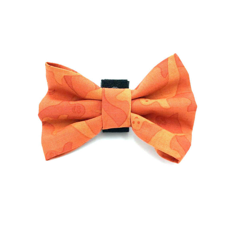 Ghost Halloween Dog Bow Tie Orange