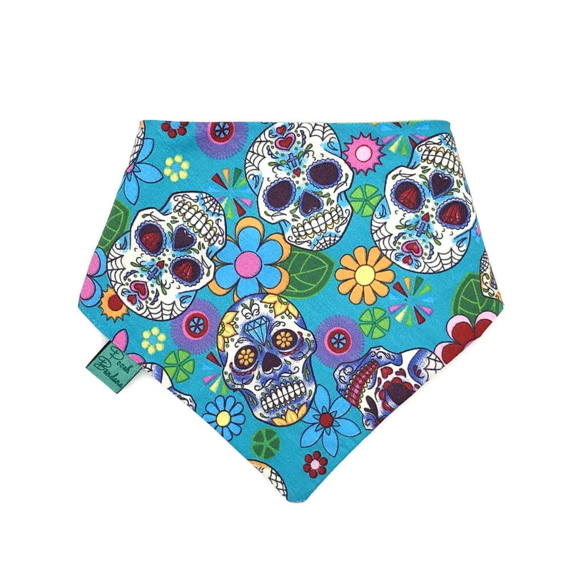 Mexican Skulls Halloween Dog Bandana Light Blue