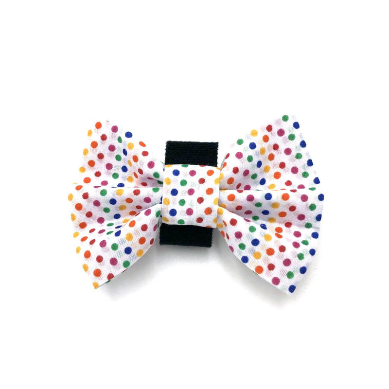 Rainbow Polka Dot Dog Bow Tie