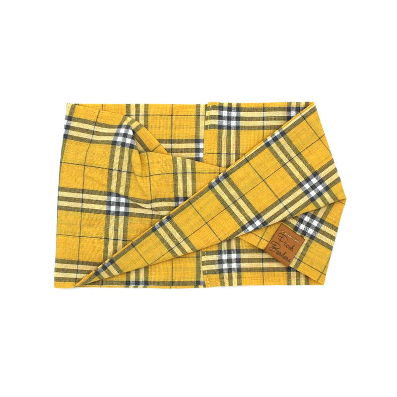 Tartan Dog Snood Mustard Yellow