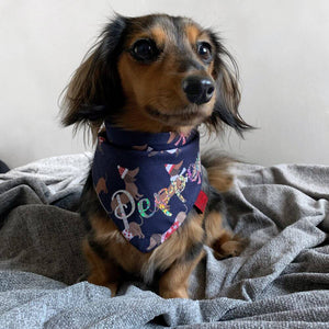 Dachshund Through The Snow Christmas Dog Bandana Blue
