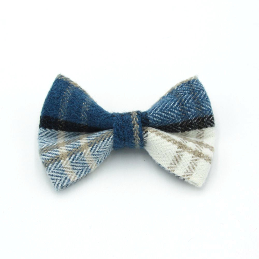 Tartan Dog Bow Tie Blue