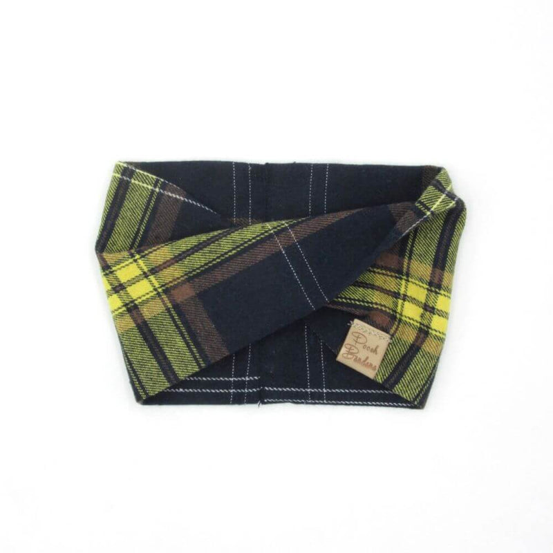 Tartan Dog Snood Yellow & Blue
