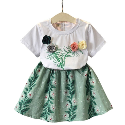 3D Rose Short Sleeve T-Shirt + Skirt Set For 3-7 Years