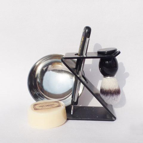 5 Piece Shaving Kit -Straight Razor, Synthetic Hair Brush,Shave Soap, Stand and Bowl