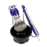 4-Piece Razor Set  Stand + Straight Razor + Soap Bowl + Badger Brush