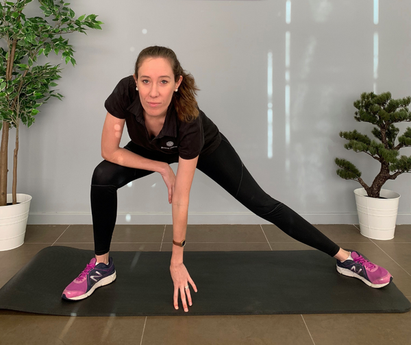 Squatting Leg-out Groin and Adductor Stretch