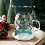 10OZ  Christmas Tree DOUBLE WALL INSULATED COFFEE MILK GLASS-BUY 4 FREE SHIPPING - Get Yours Here