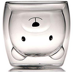 Cute Bear Double Wall insulated Coffee Glass-buy 4 free shipping