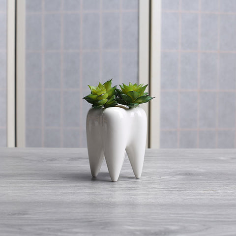 Tooth Shape White Ceramic Flower Pot