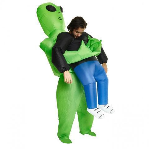 Green Alien Carrying Human Costume - Get Yours Here