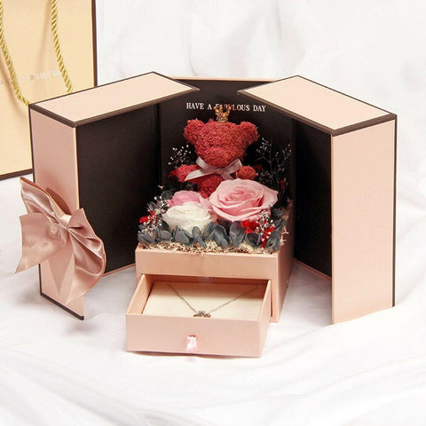 Preserved Rose Bear Gift Box - Get Yours Here