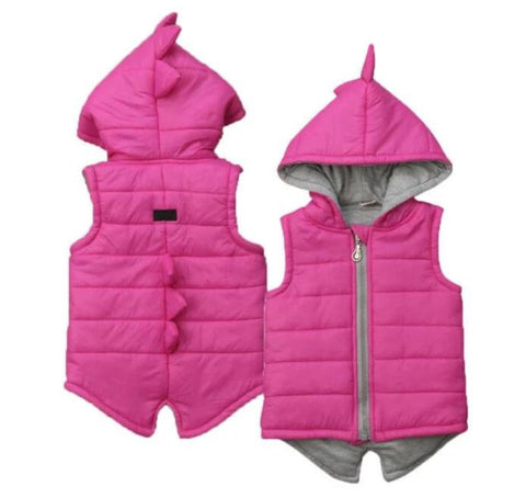 2019 Brand New Infant Kids Baby Girl Boy Dinosaur Vest Down Hooded Zipper Jacket Waistcoat Coat Winter Thick Warm Outwear 0-5T