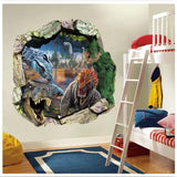 50*50cm 3D effect Jurassic Park World movie dinosaurs through wall stickers for kids rooms home decor wall decals mural poster