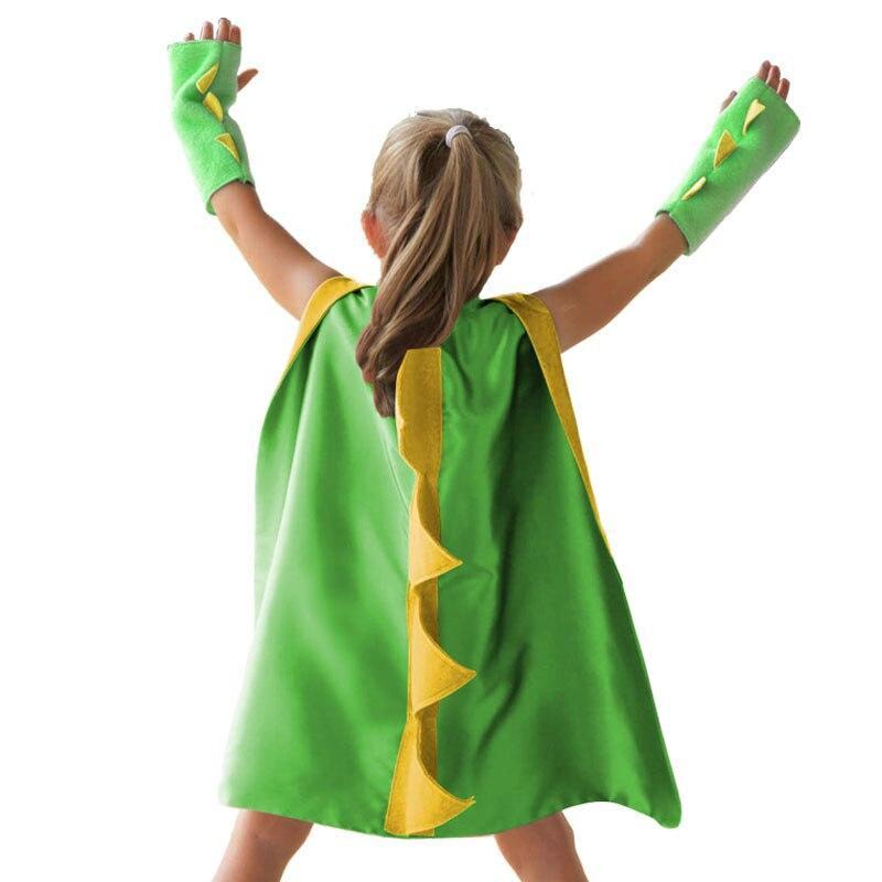 Dinosaur Costume Cape with Gloves Dino Cosplay Kids Halloween Dino Costume
