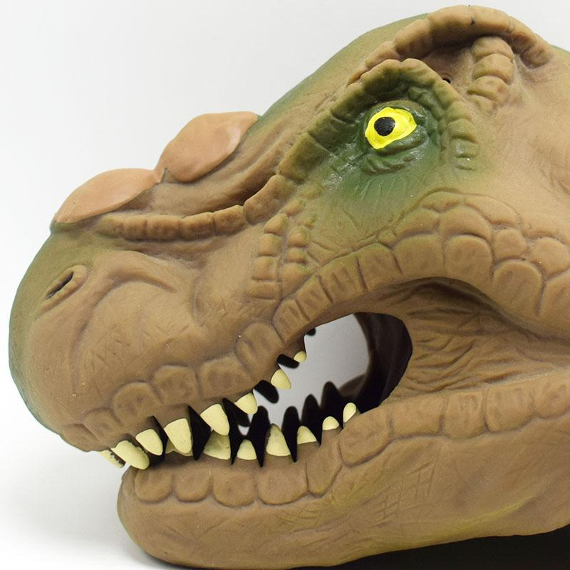 Soft brown Dinosaur Hand Puppet Animal Head Tyrannosaurus rex Hand Puppet Figure Toys Gloves Children Toy Model Gift