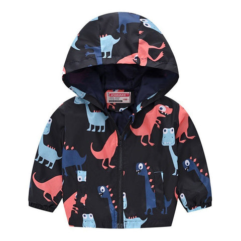 Toddler Kids Baby Grils Boys Long Sleeve Cartoon Print Zipper Hooded Coat Jacket 2019 Autumn Fashion Clothes