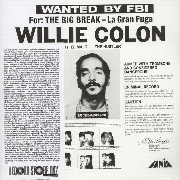 Willie Colón - Wanted By FBI / Big Break: Gran Fuga