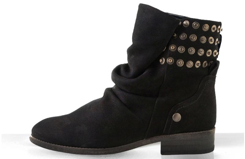 FURY FARA BIKER BOOTS NUBUCK BLACK SIDE