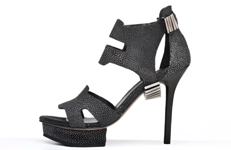 FURY KARI PLATFORM SANDALS STINGRAY CHARCOAL SIDE
